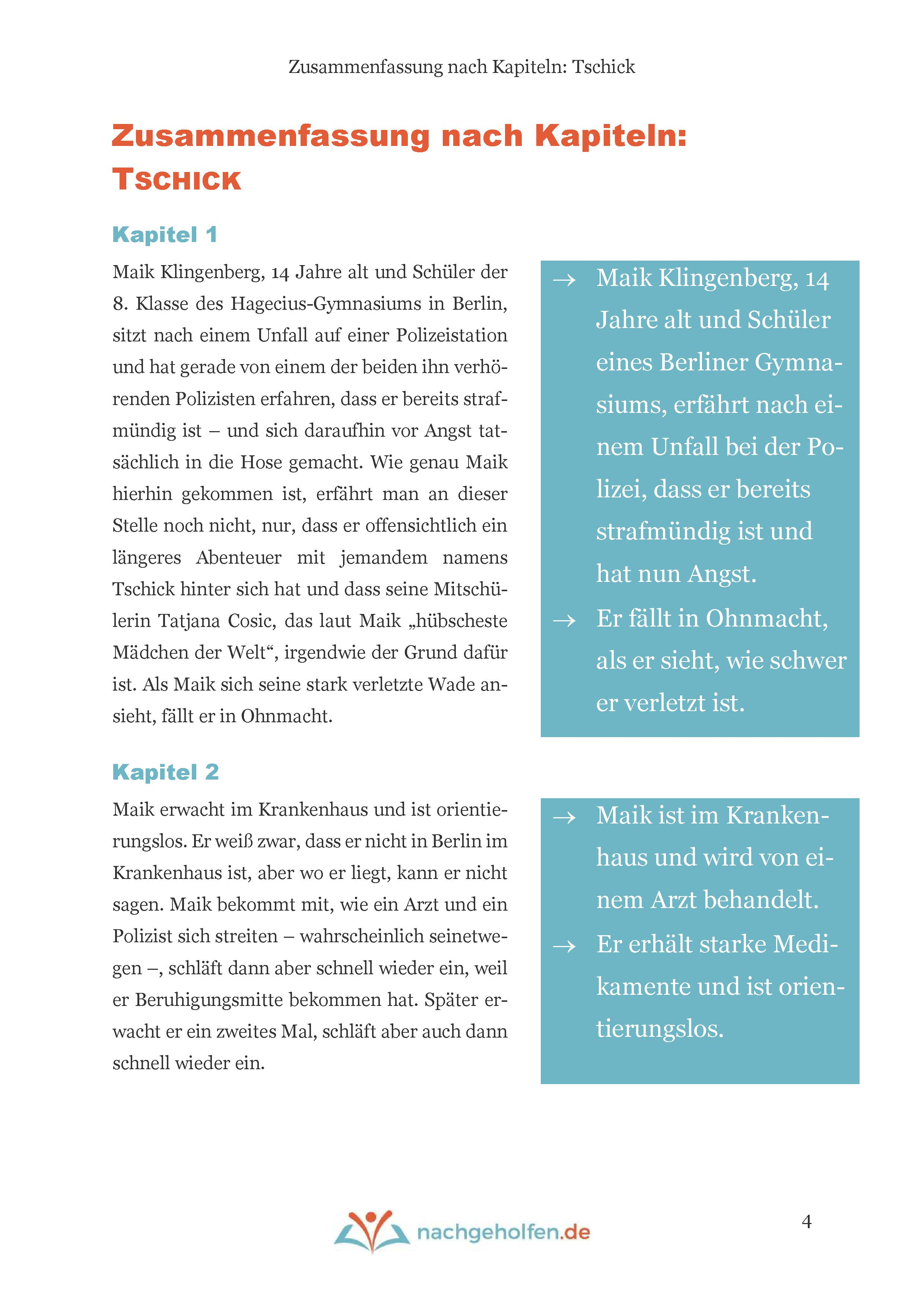 TSCHICK Zusammenfassung und Inhalt auf nachgeholfen.de